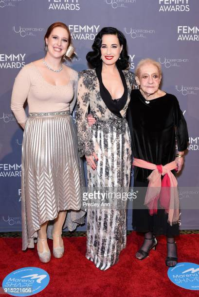 Amy Bittner Dita Von Teese and Roslyn Harte attend 2018 Femmy Awards hosted by Dita Von Teese on February 6 2018 in New York City