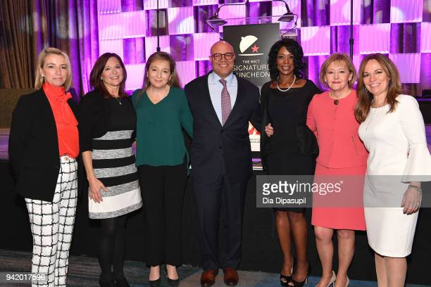 Amy Blair Debbie Stang Kathleen O'Rielly Michael Powell Marva Johnson Martha Soehren and Maria Brennan attend the WICT Signature Luncheon 2018 at New...
