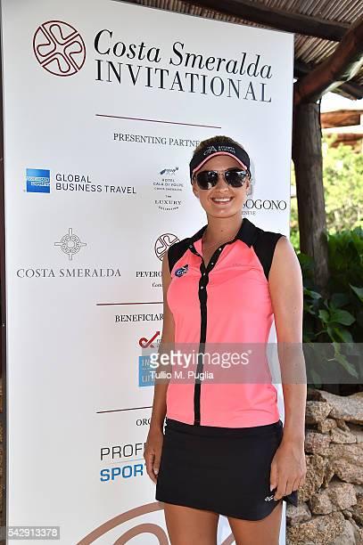 Amy Boulden arrives at The Costa Smeralda Invitational golf tournament at Pevero Golf Club Costa Smeralda on June 25 2016 in Olbia Italy