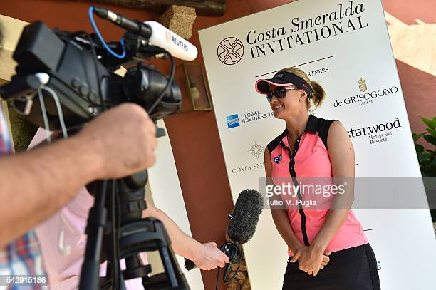 Amy Boulden gives an interview prior to The Costa Smeralda Invitational golf tournament at Pevero Golf Club Costa Smeralda on June 25 2016 in Olbia...