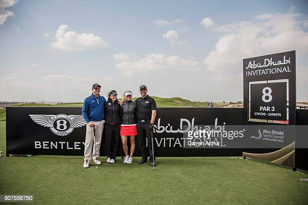 Amy Boulden of Wales and Carly Booth of Scotland during the Abu Dhabi Invitational at Yas Links Golf Course on January 30 2016 in Abu Dhabi United...