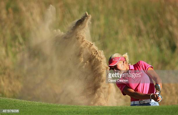 Amy Boulden of Wales hits her 3rd shot on the 18th hole during the first round of the Ricoh Women's British Open at Royal Birkdale on July 10 2014 in...