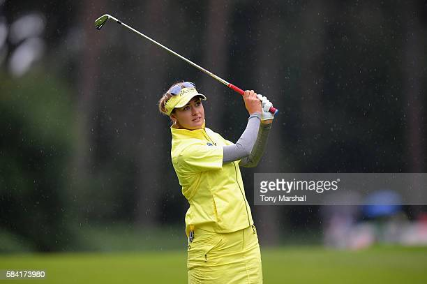 Amy Boulden of Wales hits her second shot on the 3rd hole during the first round of the 2016 Ricoh Women's British Open on July 28 2016 in Woburn...