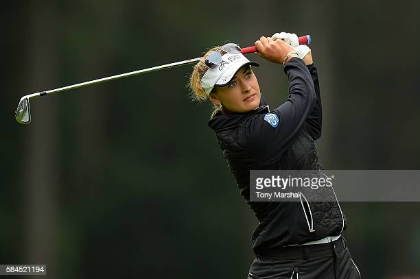 Amy Boulden of Wales hits her second shot on the 3rd hole during the second round of the Ricoh Women's British Open at Woburn Golf Club on July 29...