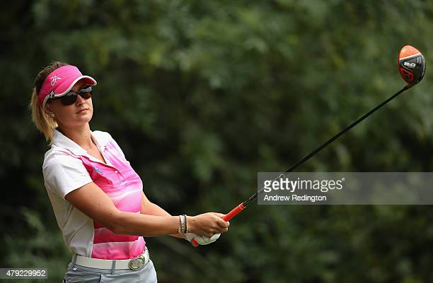 Amy Boulden of Wales in action during the first round of the ISPS Handa Ladies European Masters at The Buckinghamshire Golf Club on July 2 2015 in...