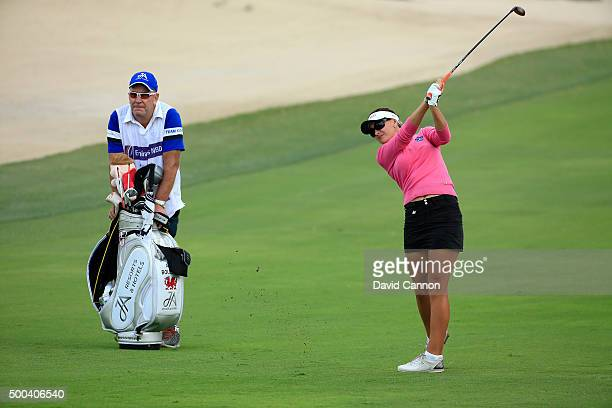 Amy Boulden of Wales in action during the proam as a preview for the 2015 Omega Dubai Ladies Masters on the Majlis Course at The Emirates Golf Club...