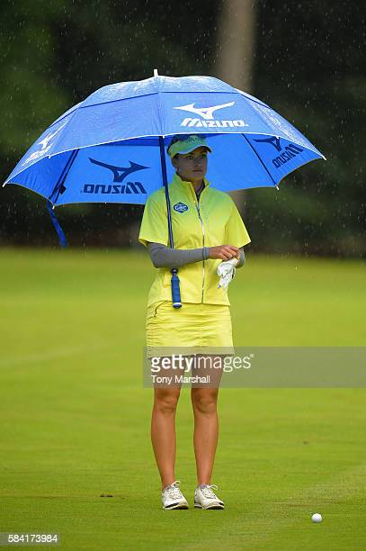 Amy Boulden of Wales looks down the 3rd hole during the first round of the 2016 Ricoh Women's British Open on July 28 2016 in Woburn England