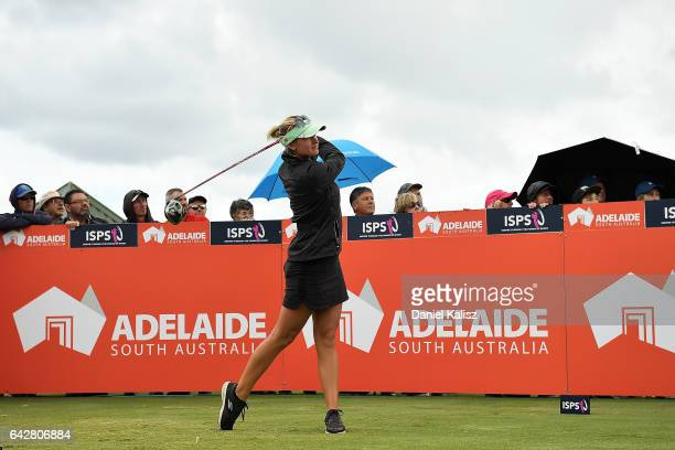 Amy Boulden of Wales plays a shot during round four of the ISPS Handa Women's Australian Open at Royal Adelaide Golf Club on February 19 2017 in...