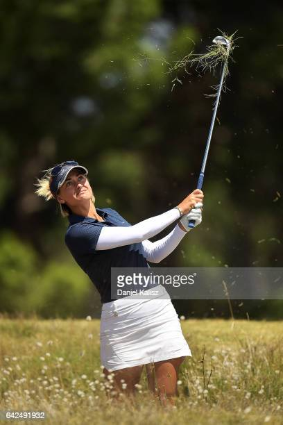 Amy Boulden of Wales plays a shot during round three of the ISPS Handa Women's Australian Open at Royal Adelaide Golf Club on February 18 2017 in...