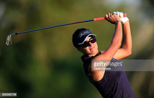 Amy Boulden of Wales plays her second shot at the par 5 18th hole during the first round of the 2015 Omega Dubai Ladies Masters on the Majlis Course...