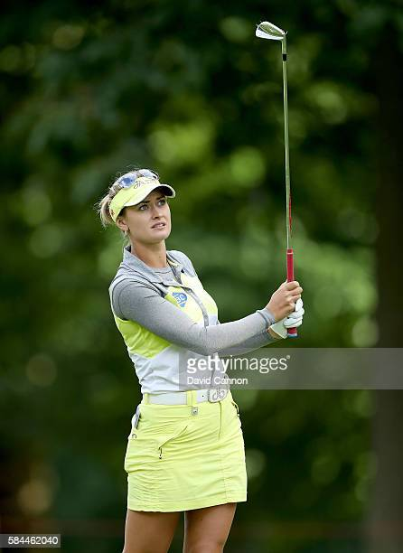 Amy Boulden of Wales plays her second shot on the 18th hole during the first round of the 2016 Ricoh Women's British Open on July 28 2016 in Woburn...