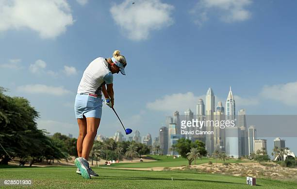 Amy Boulden of Wales plays her tee shot on the eighth hole during the completion of the first round of the 2016 Omega Dubai Ladies Masters on the...