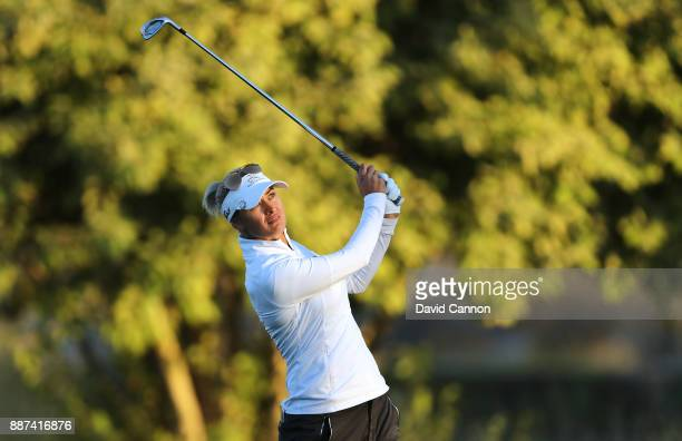 Amy Boulden of Wales plays her third shot on the par 5 10th hole during the second round of the 2017 Dubai Ladies Classic on the Majlis Course at The...