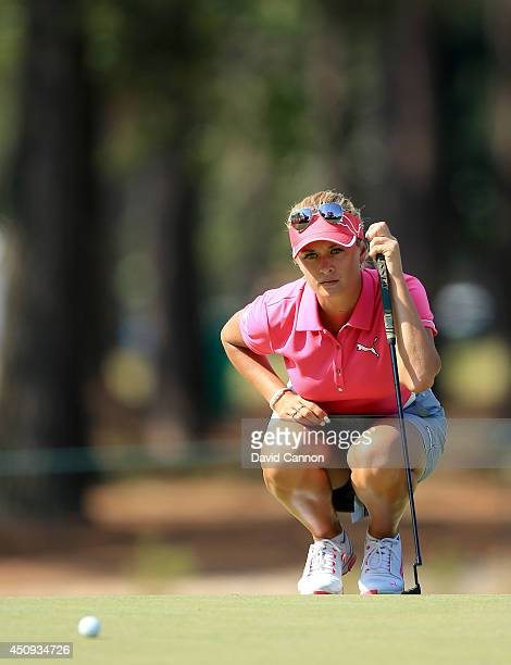 Amy Boulden of Wales putting at the par 4 12th hole during the second round of the 69th US Women's Open at Pinehurst Resort Country Club Course No 2...