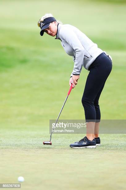 Amy Boulden of Wales putts during day two of the New Zealand Women's Open at Windross Farm on September 29 2017 in Auckland New Zealand
