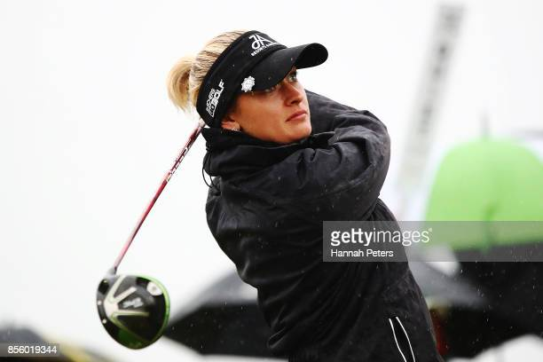 Amy Boulden of Wales tees off during day four of the New Zealand Women's Open at Windross Farm on October 1 2017 in Auckland New Zealand