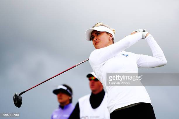 Amy Boulden of Wales tees off during day three of the New Zealand Women's Open at Windross Farm on September 30 2017 in Auckland New Zealand