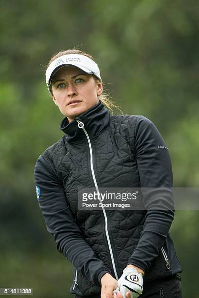 Amy Boulden of Wales tees off the 14th hole during Round 2 of the World Ladies Championship 2016 at Mission Hills Olazabal Golf Course on March 11...