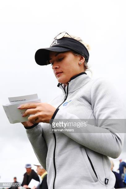 Amy Boulden of Wales walk off the 14th green during day two of the New Zealand Women's Open at Windross Farm on September 29 2017 in Auckland New...