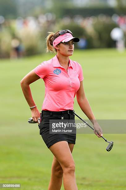 Amy Boulden of Wales walks down the 18th fairway during the 2nd round of the New Zealand Women's Open at Clearwater Golf Club on February 13 2016 in...