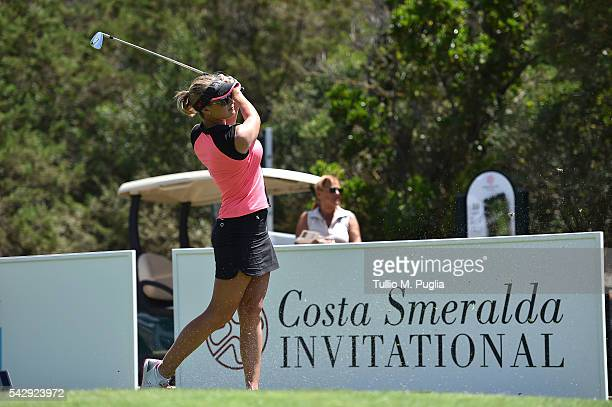 Amy Boulden tees off during The Costa Smeralda Invitational golf tournament at Pevero Golf Club Costa Smeralda on June 25 2016 in Olbia Italy