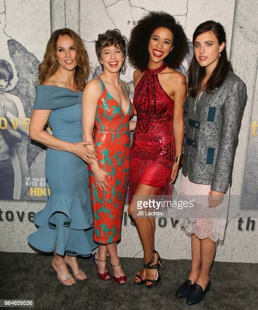 Amy Brenneman Carrie Coon Jasmin SavoyBrown and Margaret Qualley attend the premiere of HBO's 'The Leftovers' Season 3 at Avalon Hollywood on April 4...