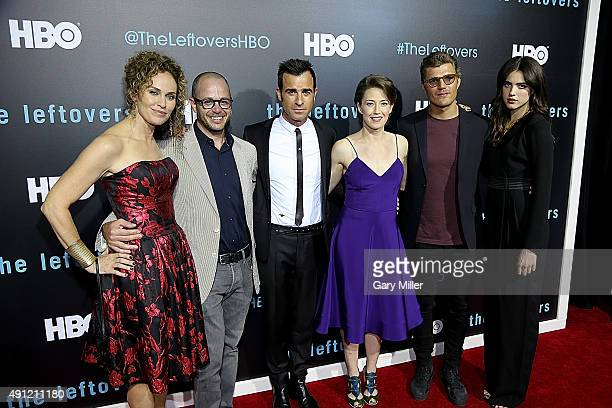 Amy Brenneman Damon Lindelof Justin Theroux Carrie Coon Chris Zylka and Margaret Qualley attend the Season 2 premeire of HBO's 'The Leftovers' during...