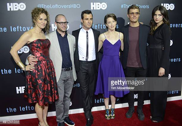 Amy Brenneman Damon Lindelof Justin Theroux Carrie Coon Chris Zylka and Margaret Qualley attend HBO's The Leftovers Season 2 Premiere during The ATX...