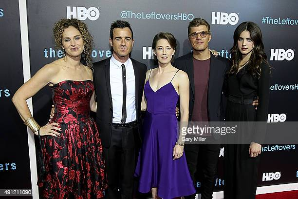 Amy Brenneman Justin Theroux Carrie Coon Chris Zylka and Margaret Qualley attend the Season 2 premeire of HBO's 'The Leftovers' during the ATX...