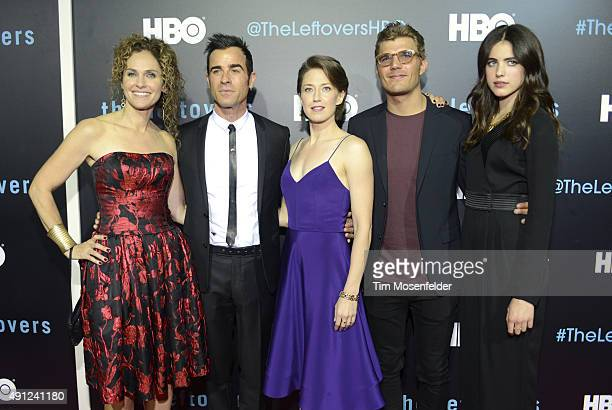 Amy Brenneman Justin Theroux Carrie Coon Chris Zylka and Margaret Qualley attend HBO's The Leftovers Season 2 Premiere during The ATX Television...