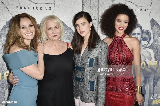 Amy Brenneman Mimi Leder Margaret Qualley and Jasmin SavoyBrown attend the Premiere of HBO's The Leftovers Season 3 Arrivals at Avalon Hollywood on...