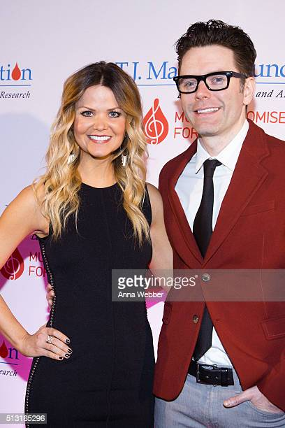 Amy Brown and Bobby Bones attend the 8th Annual TJ Martell Foundation Honors Gala at Omni Hotel on February 29 2016 in Nashville Tennessee