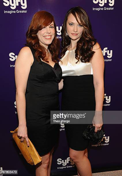 Amy Bruni and Kris Williams attend the 2010 Syfy Upfront party at The Museum of Modern Art on March 16 2010 in New York City