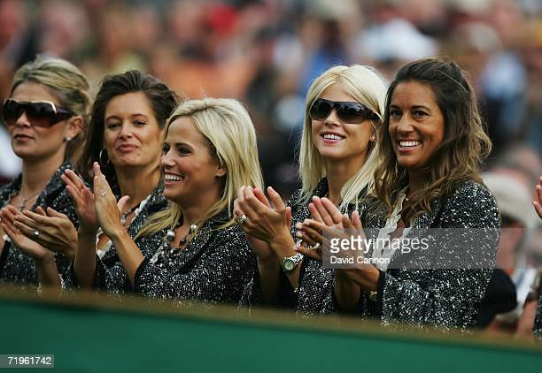 Amy Campbell Tabitha Furyk Amy Mickelson Elin Woods and Melissa Lehman applaud during the Opening Ceremony of the 2006 Ryder Cup at The K Club on...