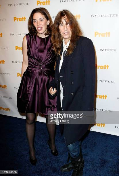 Amy Cappellazzo and Singer Patti Smith attend the 2009 Pratt Institute Legends Scholarship Benefit at 7 World Trade Center on October 29 2009 in New...