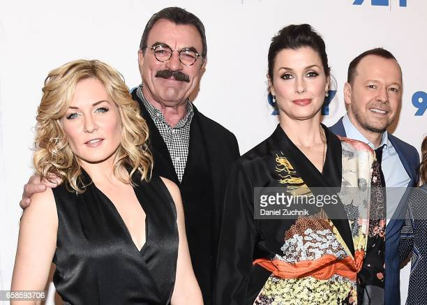 Amy Carlson Tom Selleck Bridget Moynahan and Donnie Wahlberg attend the Blue Bloods 150th episode celebration at 92Y on March 27 2017 in New York City