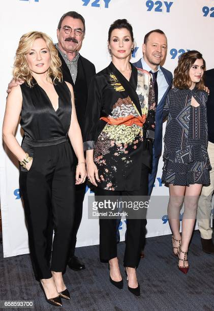 Amy Carlson Tom Selleck Bridget Moynahan Donnie Wahlberg and Sami Gayle attend the Blue Bloods 150th episode celebration at 92Y on March 27 2017 in...
