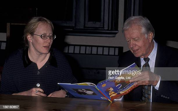 Amy Carter and Jimmy Carter attend book party for 'The Little Baby Snoogle Fleejer' on December 13 1995 at Barnes and Noble in New York City