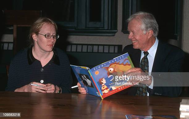 Amy Carter and Jimmy Carter during The Little Baby Snoogle Fleejer Autographing Party December 13 1995 at Barnes Noble Bookstore in New York City New...