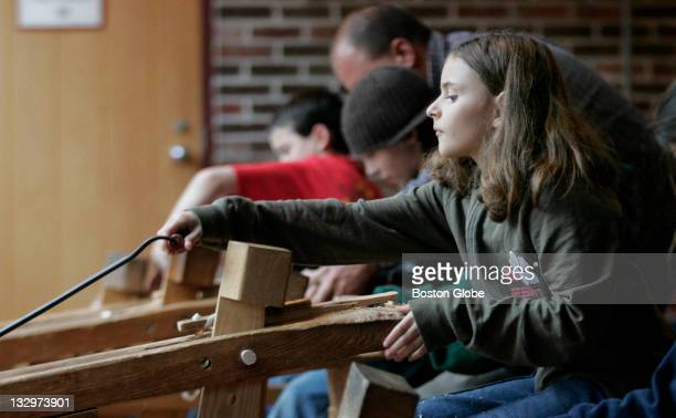 Amy Chambers works on a woodworking project at the Education Center at Old Sturbridge Village She was on a field trip with her school from...