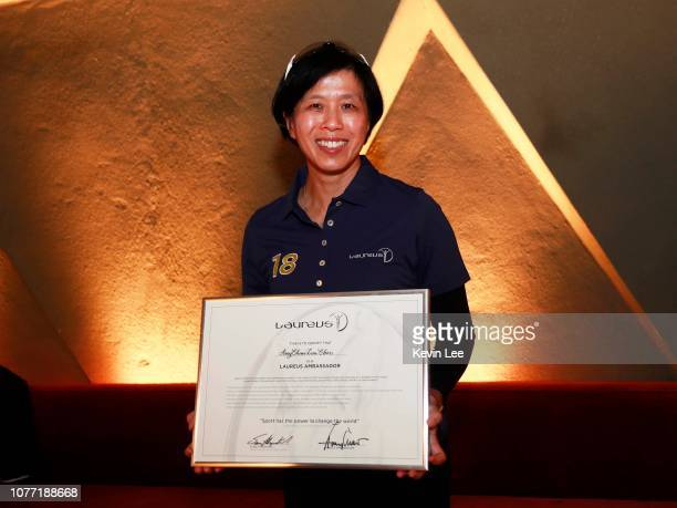 Amy Chan Lim Chee poses with the certificate before the Laureus Hong Kong Ambassador Announcement ceremony at Mercedes Me Store on December 04 2018...