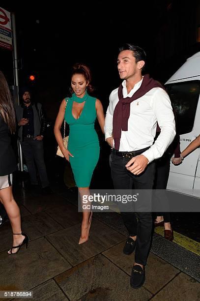 Amy Childs and boyfriend Bradley Wright celebrate Harry Derbridge's Birthday at Cafe De Paris on April 2 2016 in London England