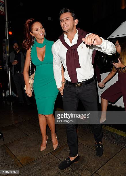 Amy Childs and boyfriend Bradley Wright celebrate Harry Derbridge's Birthday at Cafe De Paris on April 2 2016 in London England
