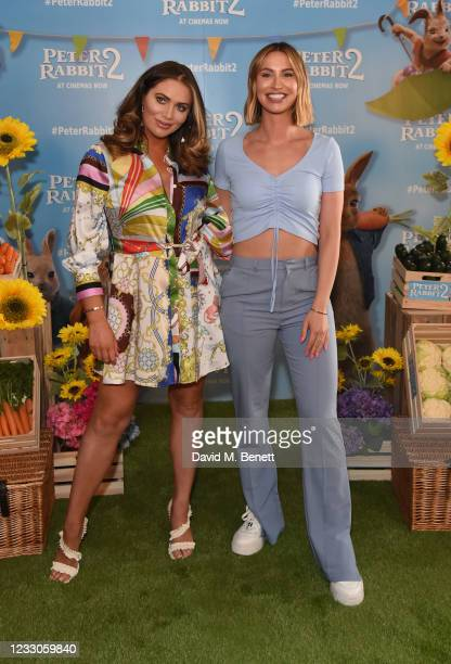"""Amy Childs and Fern McCann attend the UK Gala Screening of """"Peter Rabbit 2: The Runaway"""" at Picturehouse Central on May 23, 2021 in London, England."""