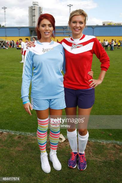 Amy Childs and Rachel Riley during the annual celebrity Soccer Six event>> at Mile End Stadium on August 31 2014 in London England