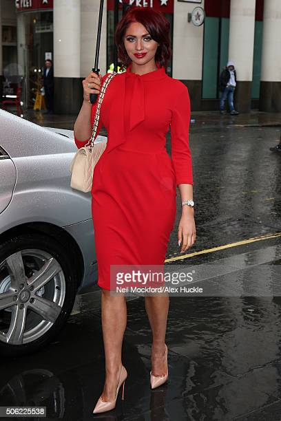 Amy Childs arrives for The Sun Military Lunch at Guildhall January 22 2016 in London England