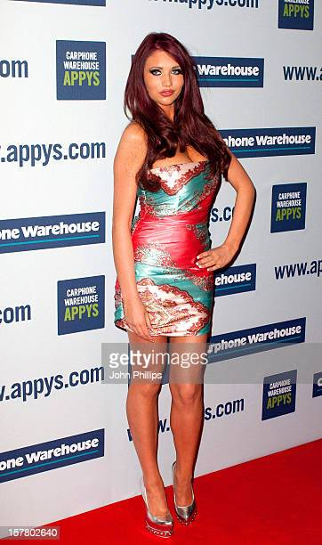 Amy Childs Arrives To The Carphone Warehouse Appys At Battersea Power Station In London.
