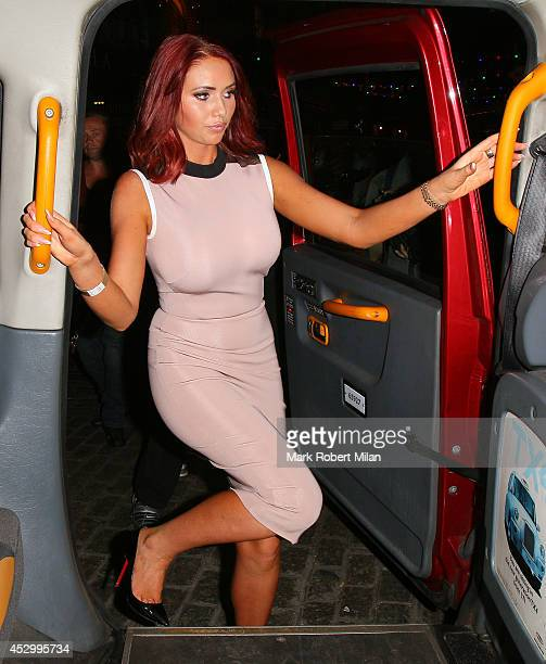 Amy Childs attend the Prive Blue Champagne party at Gilgamesh on July 31 2014 in London England