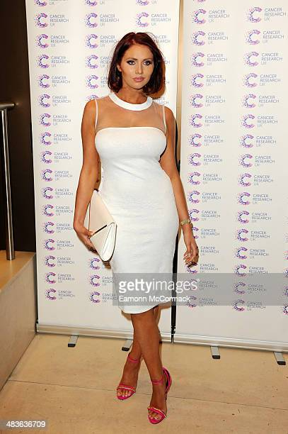 Amy Childs attends a fundraiser hosted by Journalist James Ingham in aid of Cancer Research UK ahead of his 2nd year running the London Marathon at...