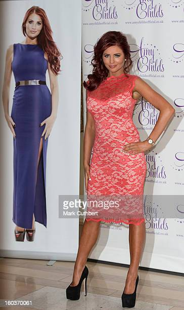 Amy Childs attends the launch of her new fashion collection at The Millennium Hotel Mayfair on January 30 2013 in London England